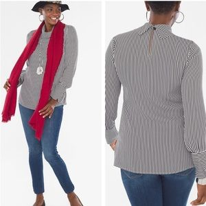 NWT Chico's STRIPED MOCK-NECK TOP